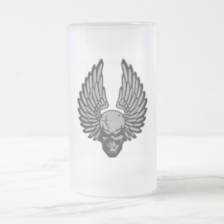 The Flying Skull Frosted Glass Beer Mug