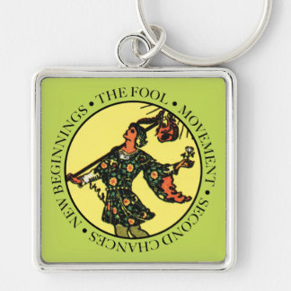 The Fool Square Keychain with Text