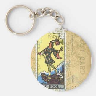 The Fool Tarot Card Vintage Postcard Keychain