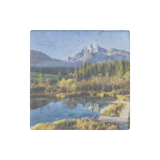 The foot of Alpen Mountain panorama exoticism Stone Magnet