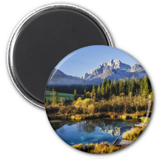 The foot of Alpen Mountain panorama exoticism 6 Cm Round Magnet