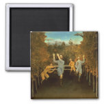 The Football players,1908 (oil on canvas) 2 Inch Square Magnet