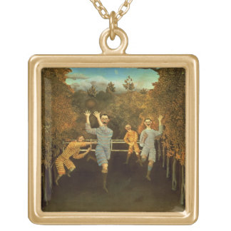 The Football players,1908 (oil on canvas) Gold Plated Necklace
