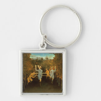 The Football players,1908 (oil on canvas) Keychain