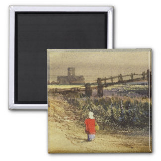 The Footbridge (Landscape with Red Cloak) (w/c and Magnet
