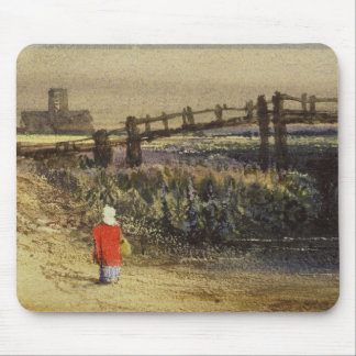 The Footbridge (Landscape with Red Cloak) (w/c and Mouse Pad