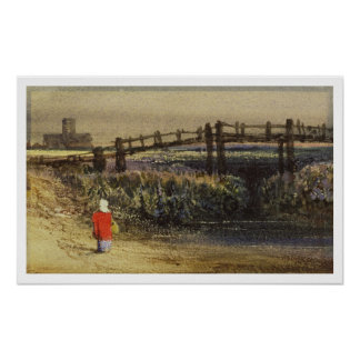 The Footbridge (Landscape with Red Cloak) (w/c and Poster
