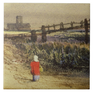 The Footbridge (Landscape with Red Cloak) (w/c and Tile