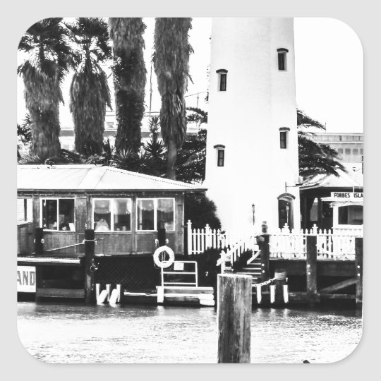 The Forbes Island Lighthouse Square Sticker