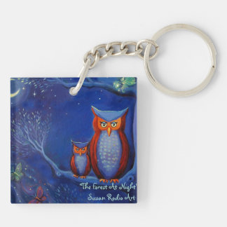 The Forest At Night Double-Sided Square Acrylic Keychain