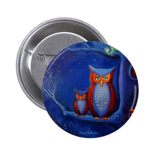 """""""The Forest At Night:"""" Owl art button"""