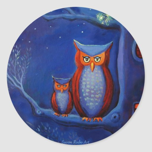 """""""The Forest At Night"""" Owl art stickers"""