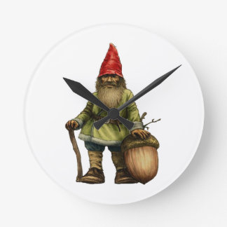 THE FOREST GNOME ROUND WALLCLOCK
