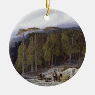 The Forest of Valdoniello, Corsica, 1869 (oil on c Ceramic Ornament
