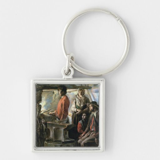 The Forge, 1640 Silver-Colored Square Keychain