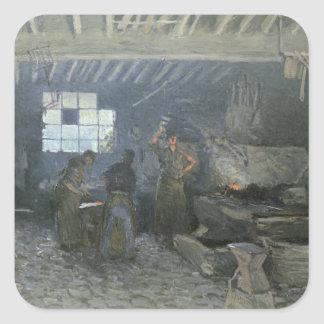 The Forge at Marly-le-Roi, Yvelines, 1875 Square Sticker
