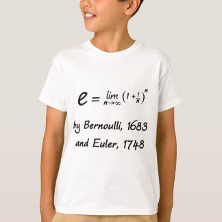 The formula for e, by Bernoulli and Euler T-Shirt