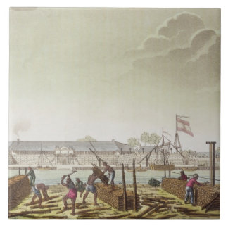 The Fort at Batavia with Native Loggers, plate 50 Ceramic Tile