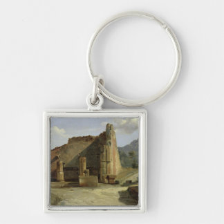 The Forum of Pompeii Silver-Colored Square Keychain