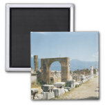 The Forum with the mountains in the background 2 Inch Square Magnet