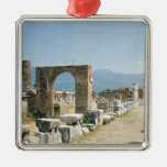 The Forum with the mountains in the background Square Metal Christmas Ornament