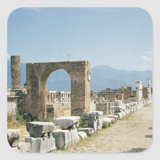 The Forum with the mountains in the background Square Sticker