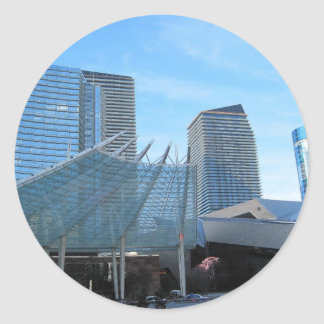 The fountain and Architecture of Aria in Las Vegas Classic Round Sticker
