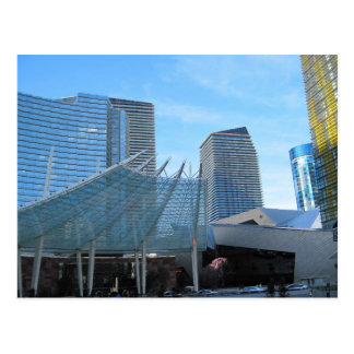The fountain and Architecture of Aria in Las Vegas Postcard