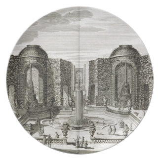 The fountain in the maze at the Princely Pleasure Melamine Plate