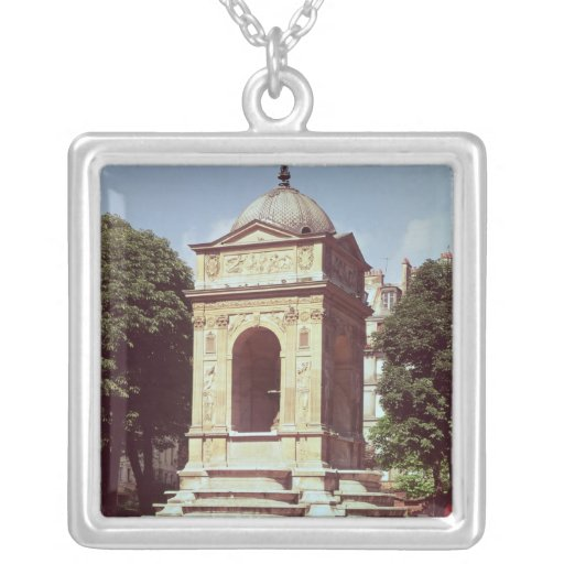 The Fountain of the Innocents, c.1550 Square Pendant Necklace
