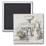 The Fountain of the Lions, Vignette from 'Sketches 2 Inch Square Magnet