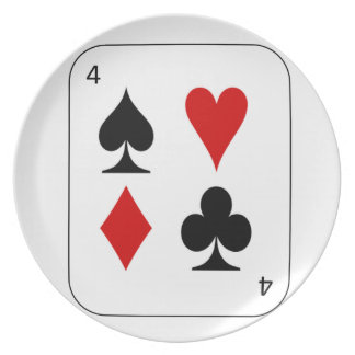 The four card suits. dinner plate