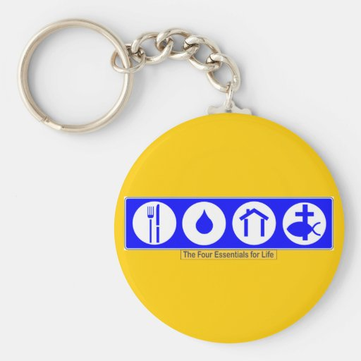 The Four Essentials for Life Basic Round Button Keychain