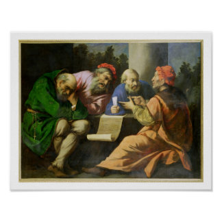 The Four Fathers of the Church (oil on canvas laid Poster