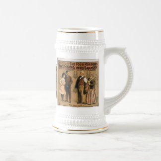 The Four Mortons Breaking Into Society vintage art Beer Stein
