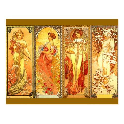 the Four Seasons - Art Nouveau Post Cards