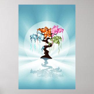 The Four Seasons Bubble Bonsai Tree Poster
