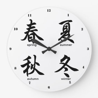 The Four Seasons, Japanese Kanji Wall Clocks