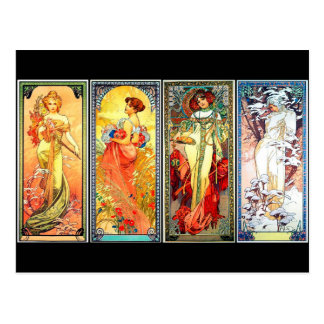 The Four Seasons series 3 by Mucha postcard