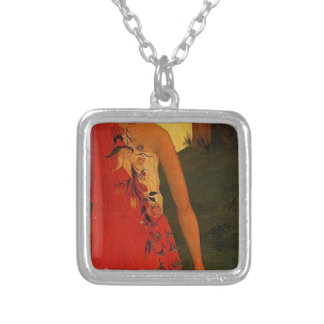 The Four Seasons, Spring by Paul Cezanne Silver Plated Necklace
