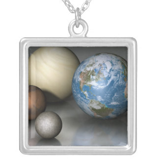 The Four Terrestrial Planets Silver Plated Necklace