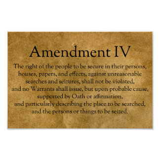The Fourth Amendment to the U.S. Constitution Poster