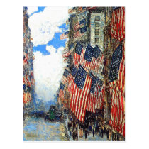 """""""The Fourth of July""""  by Childe Hassam Postcard"""