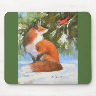 The Fox and the Cardinal Mouse Pad