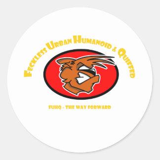 The Fox - Feckless Urban Humanoid & Quiffed Classic Round Sticker