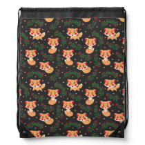 The Fox Pattern Drawstring Bag