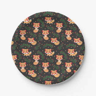 The Fox Pattern Paper Plate