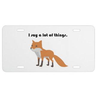 The Fox Says Internet Meme Cartoon License Plate
