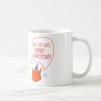 The Fox says Merry Christmas! Classic White Coffee Mug