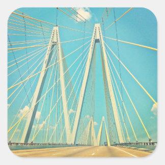 The Fred Hartman Bridge Square Sticker